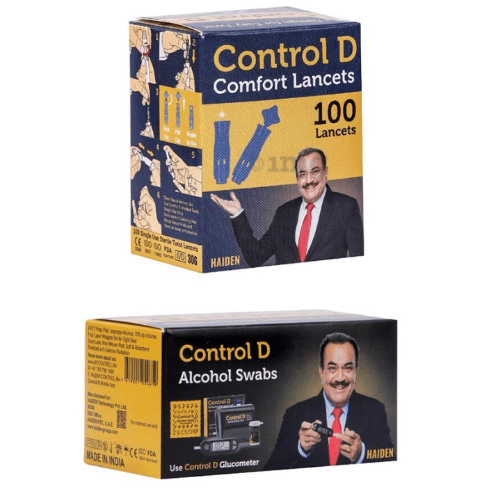 Control D Combo Pack of Alcohol Swabs and Comfort Lancets 100 Each