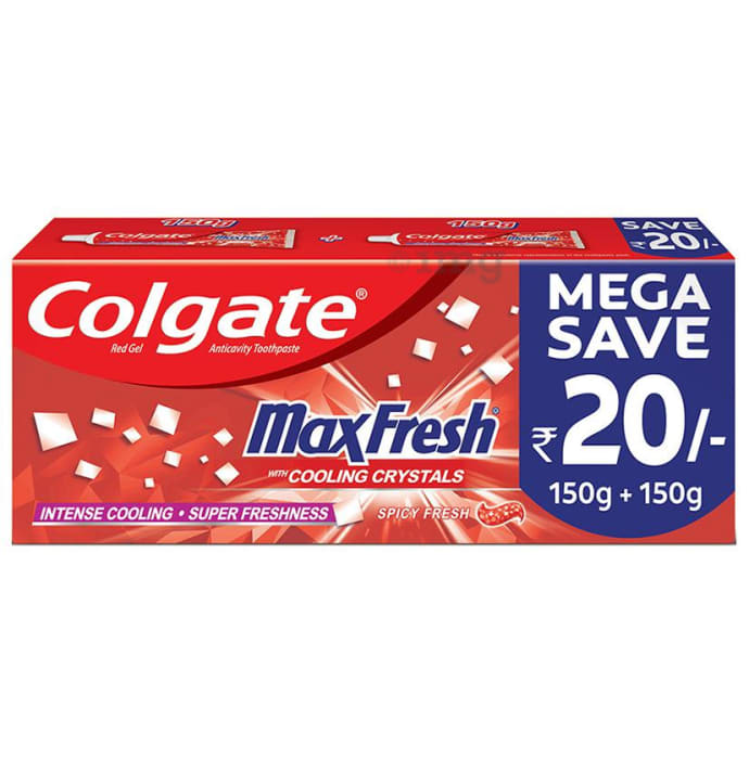Colgate Maxfresh with Cooling Crystals Anticavity Toothpaste Mega Save Pack (150gm Each) Spicy Fresh Red Gel