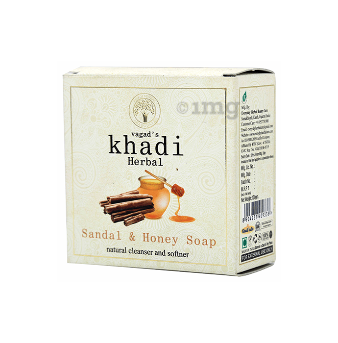 Vagad's Khadi Herbal Sandal & Honey Natural Cleanser and Softner Soap
