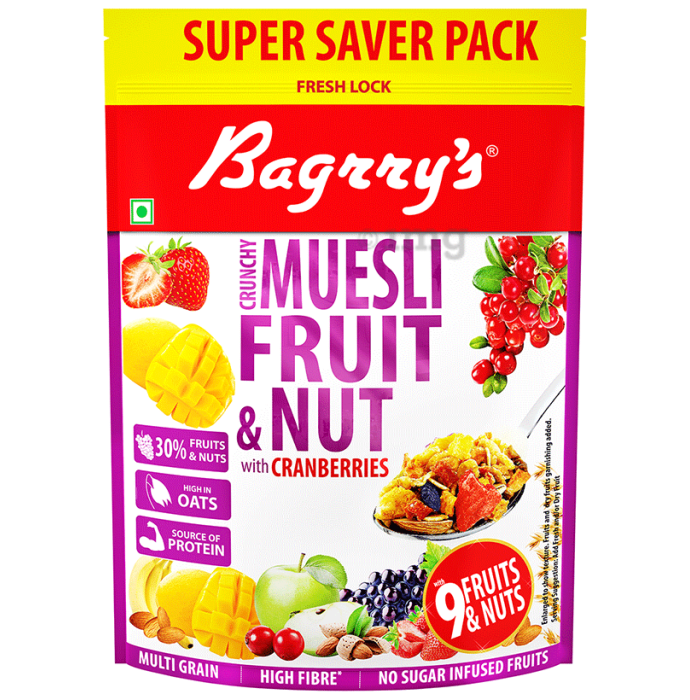 Bagrry's Crunchy Fruit and Nut with Cranberries Muesli