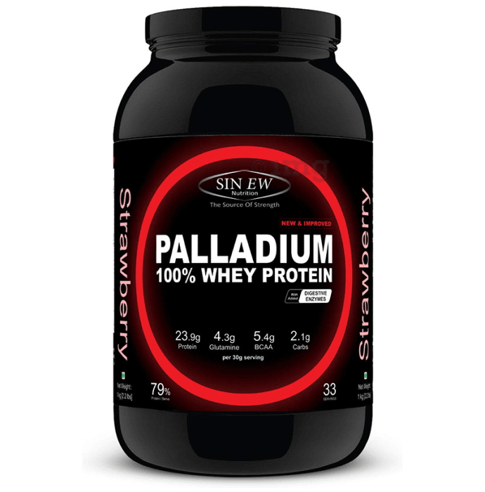 Sinew Nutrition Palladium 100% Whey Protein with Digestive Enzymes Strawberry