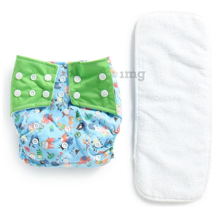 Polka Tots Blue Reusable Washable Coth Diaper with One Absorbent Diaper Liner