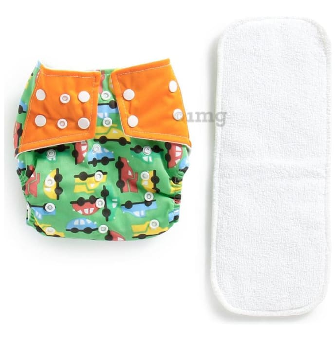 Polka Tots Green Reusable Washable Coth Diaper with One Absorbent Diaper Liner