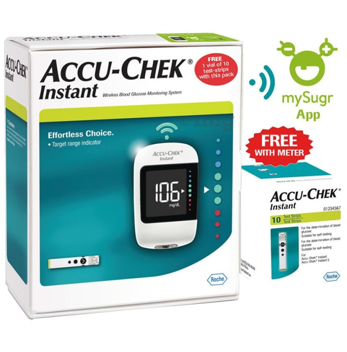 Accu-Chek Instant Glucometer Combo Pack with Free 10 Test Strips, mySugr App