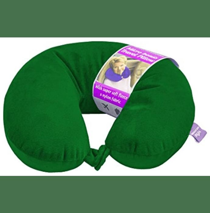 Viaggi Microbead Travel Neck Pillow with Fleece Hunter Green
