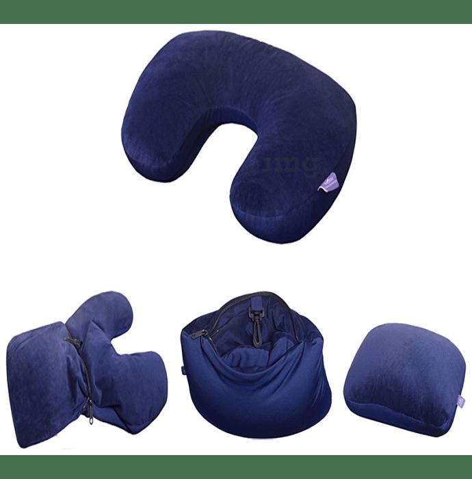 Viaggi 2 Way Convertable Neck Pillow Navy Blue