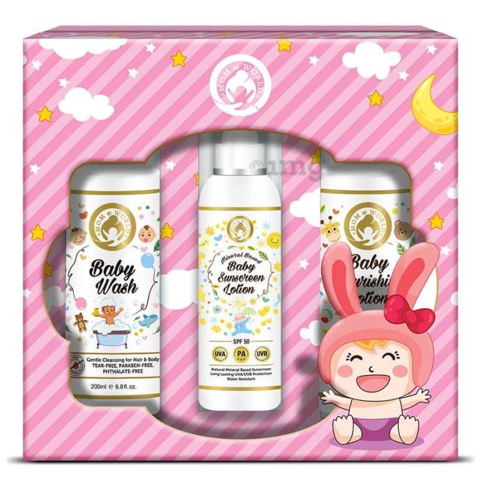 Mom & World Baby Girl Kit (Wash + Baby Sunscreen Lotion + Baby Nourishing Lotion)