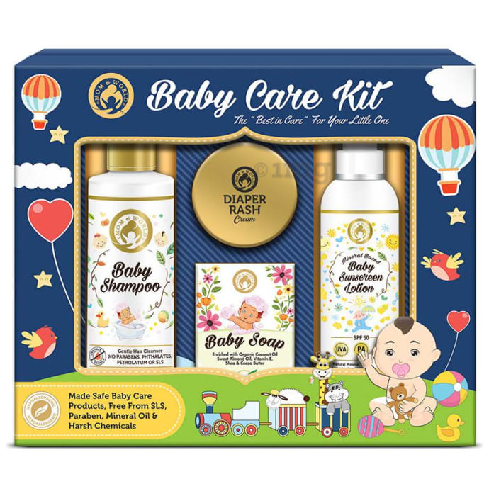 Mom & World Baby Care Kit (Baby Shampoo + Baby Soap + Baby Sunscreen Lotion + Diaper Rash Cream)