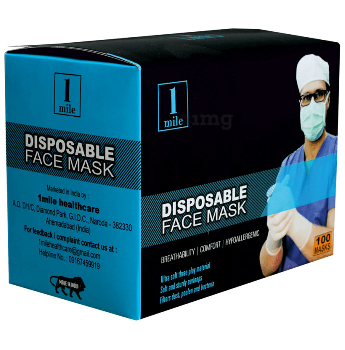 1Mile Disposable 3 Ply Face Mask Blue Regular