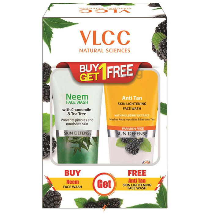 VLCC Natural Science Neem Face Wash with Anti Tan Skin Lightening Face Wash Free (150ml Each)