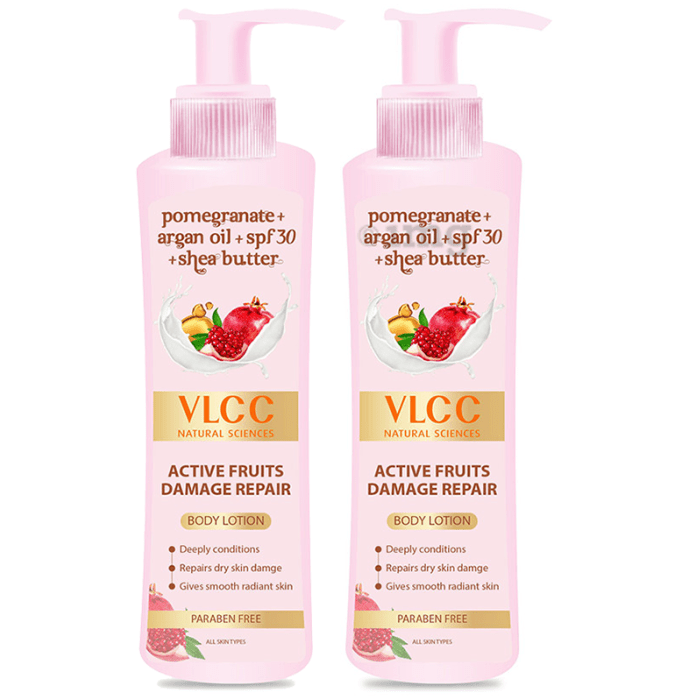 VLCC Active Fruits Damage Repair Body Lotion 400ml Each (Buy 1 Get 1 Free)