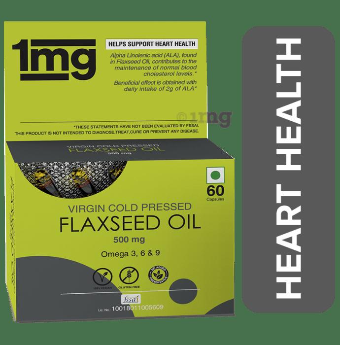 1mg Flaxseed Oil 500mg Omega 3 Capsule for Blood Cholesterol Levels & Hearth Health