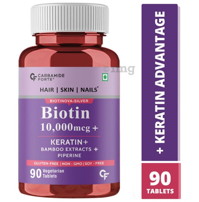 Carbamide Forte Biotin 10,000mcg + Keratin + Bamboo Extracts + Piperine Vegetarian Tablet