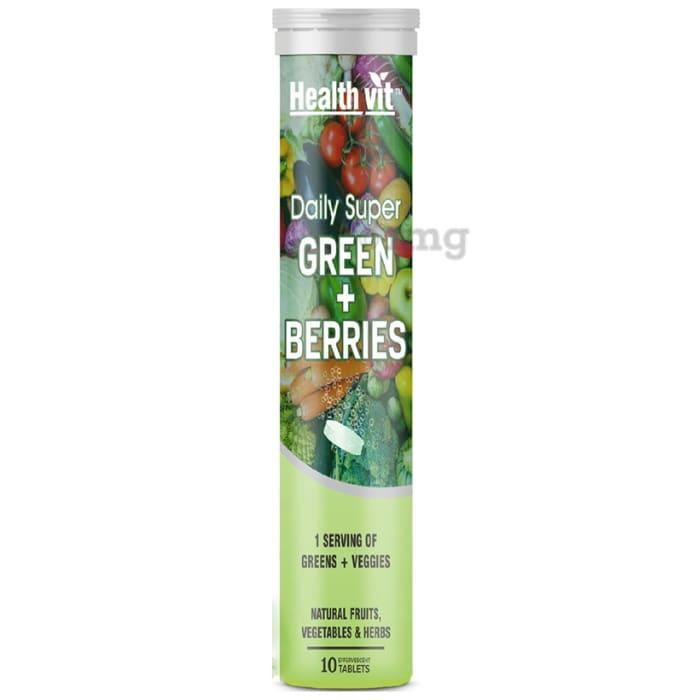 HealthVit Daily Super Green + Berries Effervescent Tablet