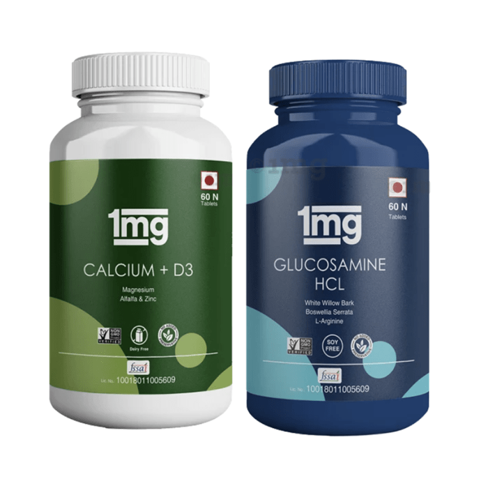 1mg Joint Care Combo of Calcium + Vitamin D3 & Glucosamine HCL with L-Arginine