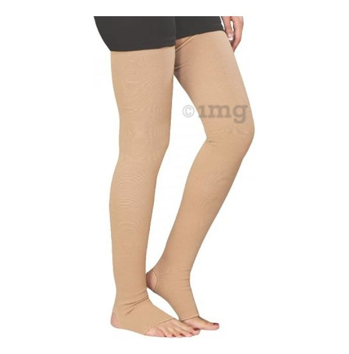 Hiakan International Varicose Vein Stocking Thigh Support Medium Beige Classic