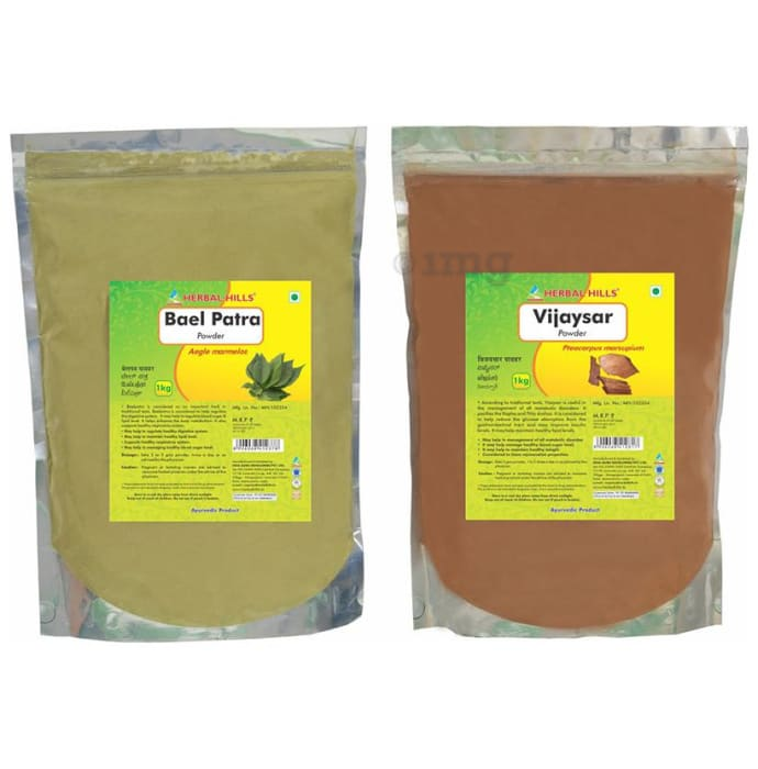Herbal Hills Combo Pack of Bael Patra Powder and Vijaysar Powder (1Kg Each)