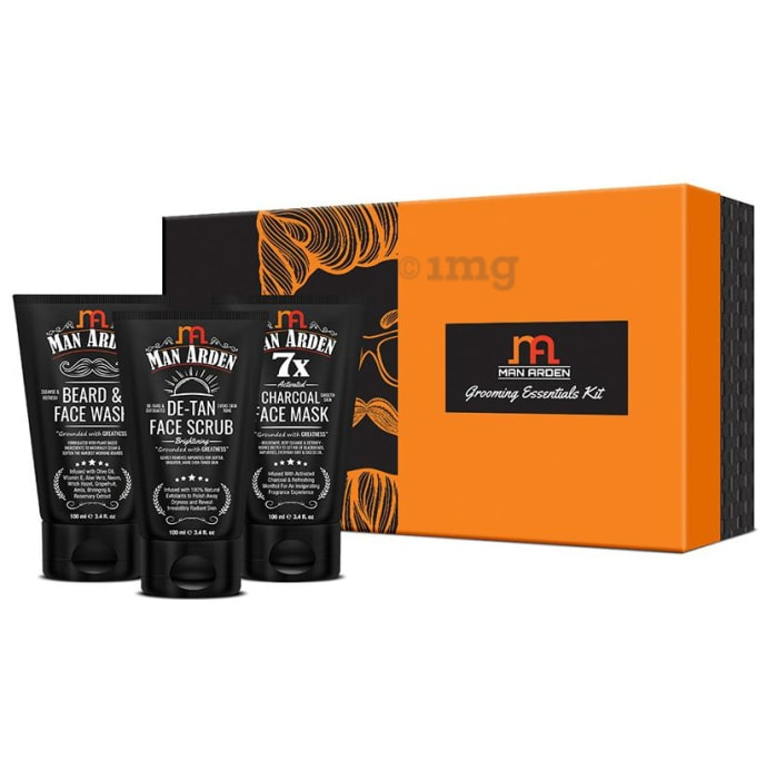 Man Arden Grooming Essentials Kit (Beard & Face Wash,  De-Tan Face Scrub & Charcoal Face Mask) 100ml Each