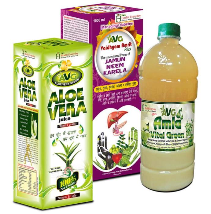 AVG Combo Pack of Amla Vital Green, Aloe Vera & Vaidhyam Amrit Plus (1000ml Each)