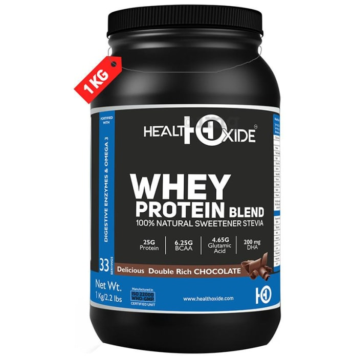 HealthOxide Whey Protein Blend 100% Natural  Sweetener Stevia with Digestive Enzymes & Omega 3 Delicious Double Rich Chocolate
