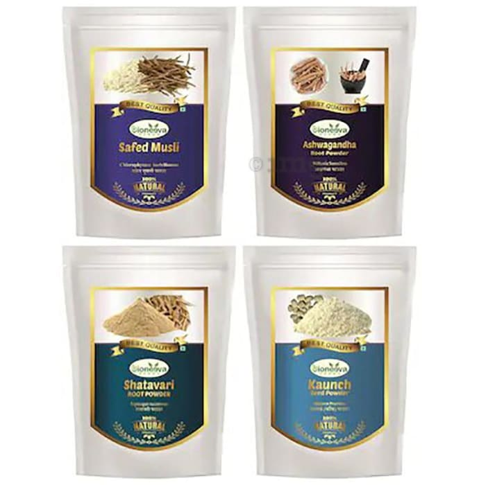 Bioneeva Herbs Combo Pack of Safed Musli Root, Ashwagandha Root, Shatavari Root & Kaunch Seed Powder (100gm Each)