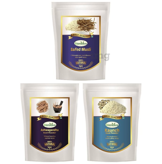 Bioneeva Herbs Combo Pack of  Safed Musli, Ashwagandha Root & Kaunch Seed Powder