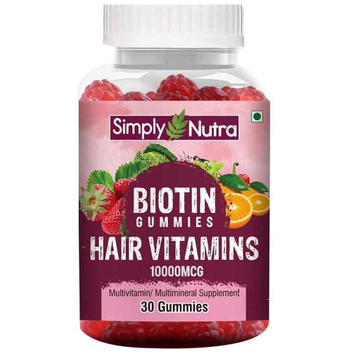 Simply Nutra Biotin Hair Vitamins 10000mcg Gummy