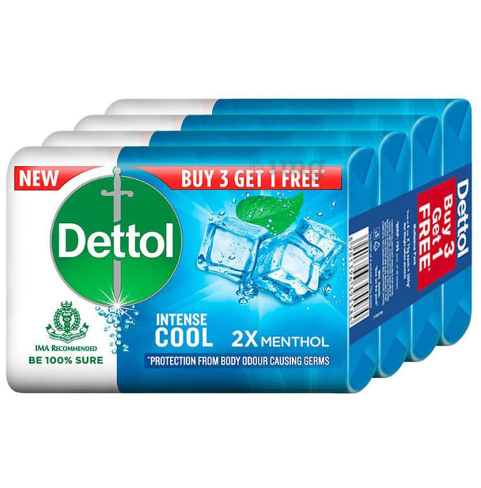 Dettol Intense Cool Soap 75gm (Buy 3 Get 1 Free)