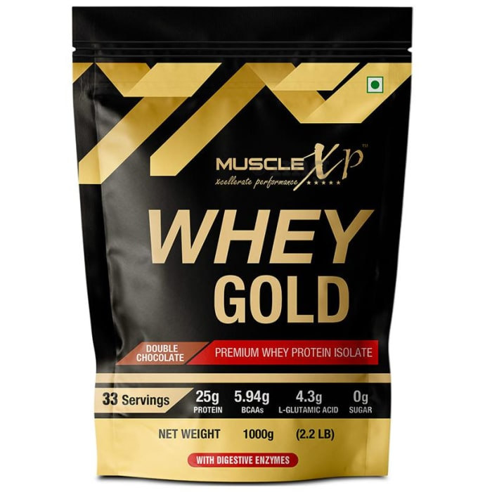 MuscleXP Whey Gold Premium Whey Protein Isolate with Digestive Enzymes Double  Chocolate
