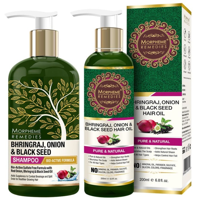 Morpheme Remedies Combo Pack of Bhringraj, Onion & Black Seed Shampoo 300ml and Hair Oil 200ml