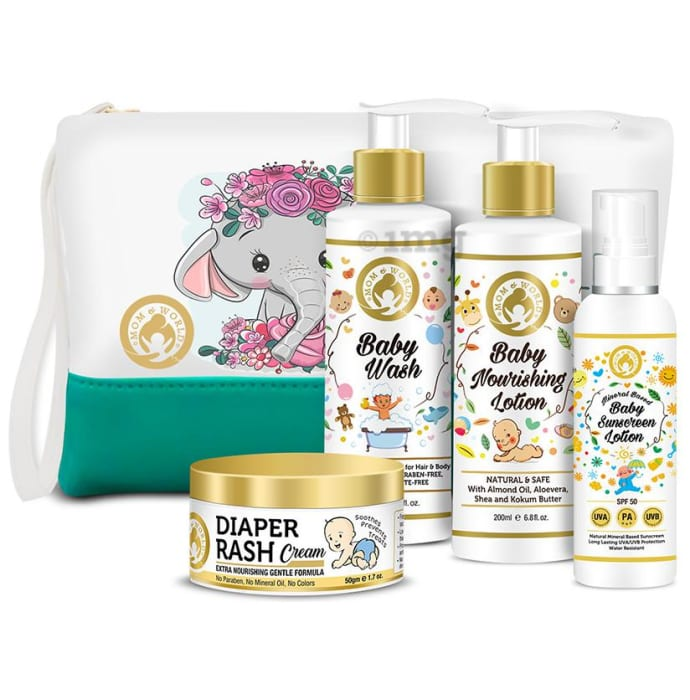 Mom & World Groom and Bloom Baby Grooming Combo (Diaper Rash Cream 50gm, SPF50 Baby Sunscreen Lotion 120ml, Baby Wash & Baby Nourishing Lotion 200ml Each) with Pouch