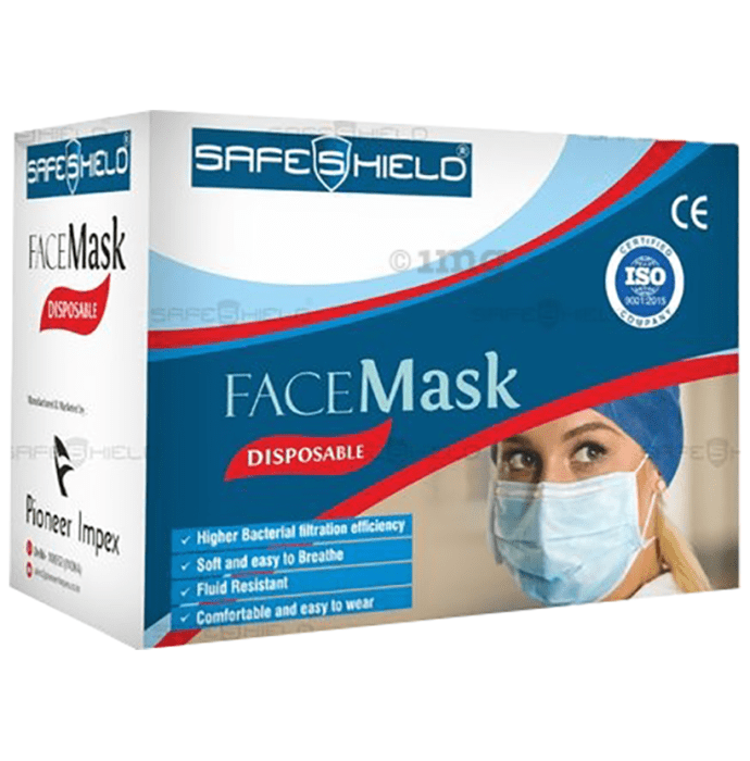 Safeshield 3 Layer Surgical Disposable Face Mask with Meltblown Filter & Nose Pin Blue