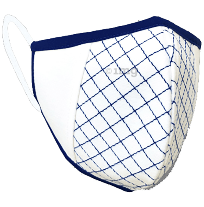 Nivedita Saboo Cares Large Super-Ivory with Ink Piping and Quilting BreathSafe Protective Reusable Face Mask