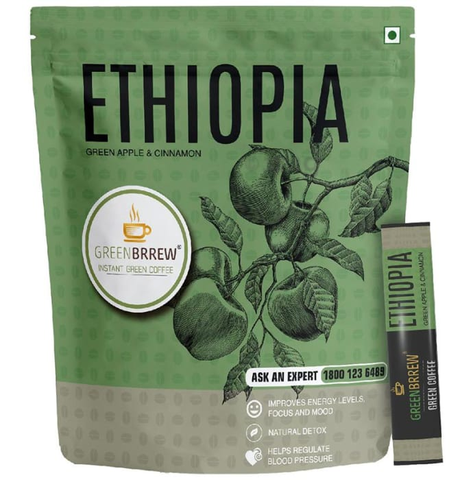 Green Brrew Ethiopia Instant Green Coffee (1.5gm Each) Green Apple & Cinnamon