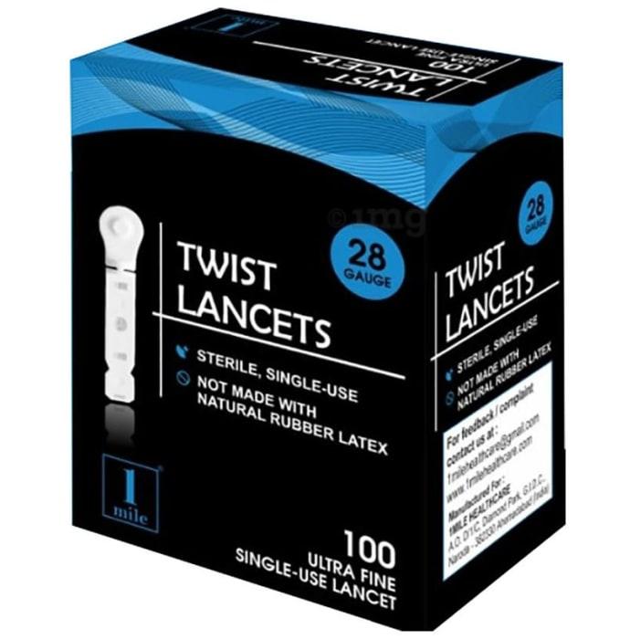 1Mile White Flat Twist Lancets