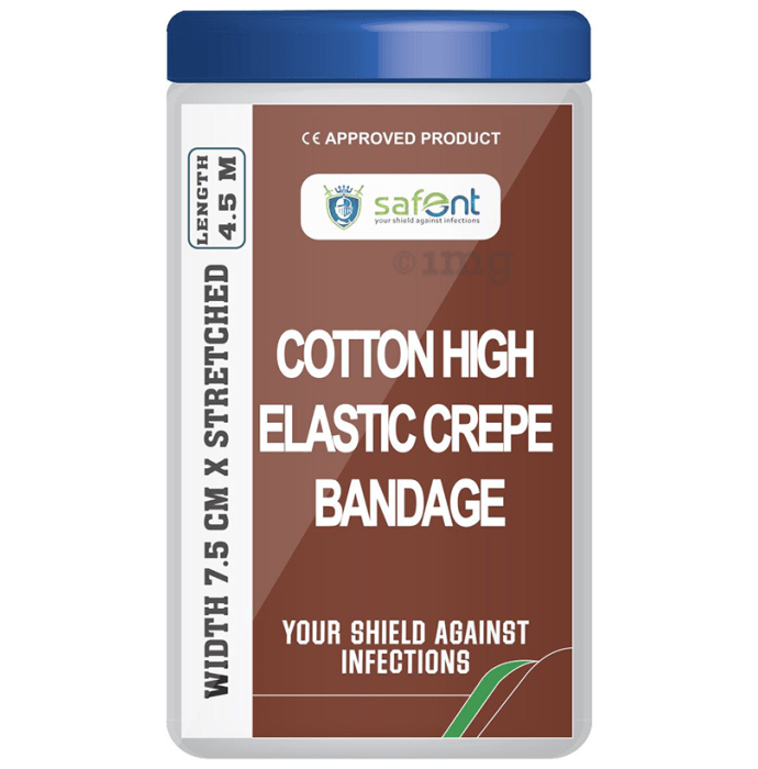 Safent Cotton High Elastic Crepe bandage 7.5cm x 4.5m