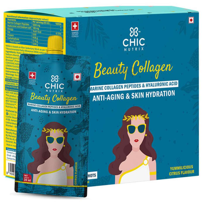 Chicnutrix Beauty Collagen Marine Collagen Peptides & Hyaluronic Acid Gel Shots (30ml Each) Yummilicious Citrus