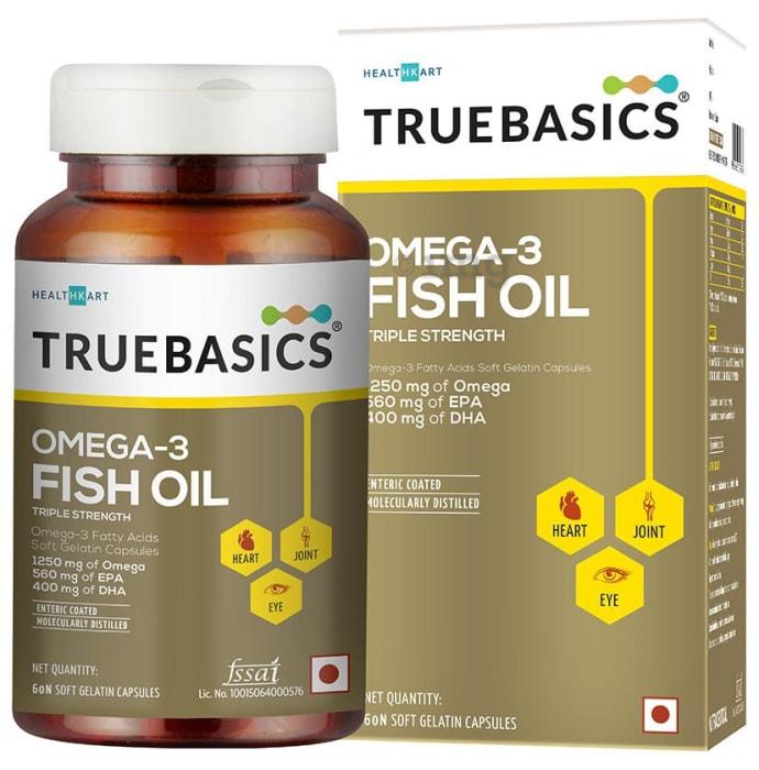 TrueBasics Omega 3 Fish Oil Triple Strength Soft Gelatin Capsule
