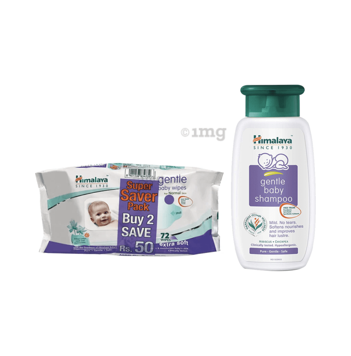 Baby Care Combo of Himalaya Gentle Baby Shampoo 400ml and 2 Packs of  Himalaya Gentle Baby Wipes 72 Each