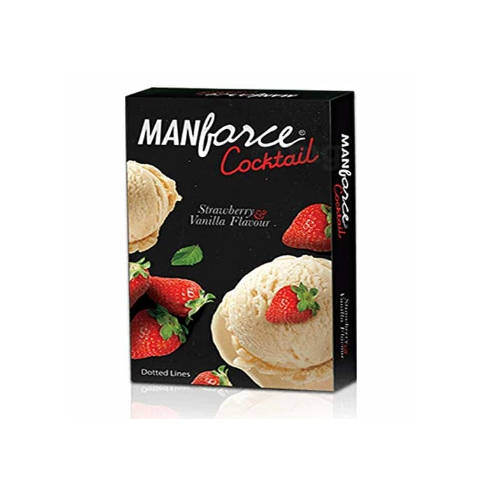 Manforce Strawberry & Vanilla Dotted-Ring Cocktail Condom