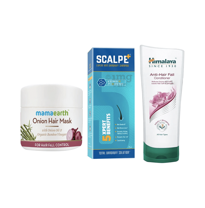 Hair Care Combo of Scalpe+ Expert Anti Dandruff Shampoo 75ml, Mamaearth Onion Hair Mask 200ml and Himalaya Anti-Hair Fall Conditioner 100ml