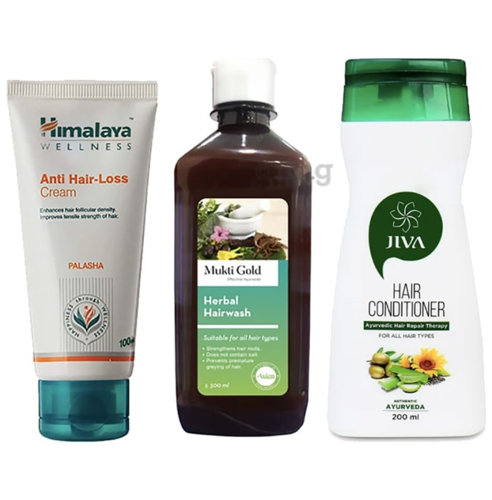 Hair Care Combo of Axiom Mukti Gold Hairwash Shampoo 500ml, Himalaya Wellness Anti-Hair Loss Cream 100ml and Jiva Hair Conditioner 200ml