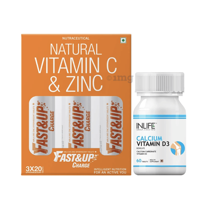 Immunity Care Combo of Fast&Up Charge Natural Vitamin C & Zinc 60 Effervescent Tablet and Inlife Calcium Vitamin D3 60 Tablet