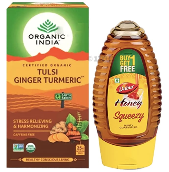 Anti-oxidants Combo of Organic India Tulsi Ginger Turmeric 25 Tea Bag and Dabur Honey Squeezy 225gm (Buy 1 Get 1 Free)