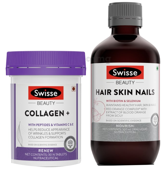 Swisse Beauty Combo Pack of Collagen+ 30 Tablet & Hair Skin Nails Oral Liquid 300ml