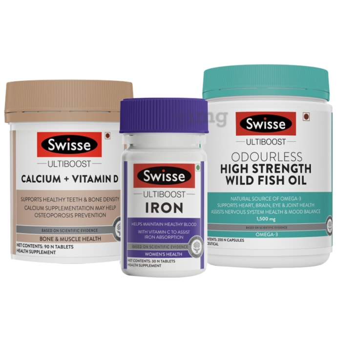 Swisse Combo Pack of Ultiboost Calcium+Vitamin D 90 Tablet,Ultiboost Iron 30 Tablet & Ultiboost Odourless High Strength Wild Fish Oil 200 Capsule