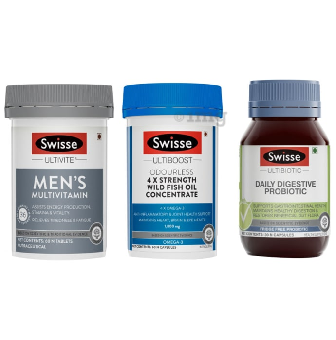 Swisse Combo Pack of Ultivite Men's Multivitamin 60 Tablet, Ultiboost Odourless 4x Strength Wild Fish Oil Concentrate 60 Capsule & Ultibiotic Daily Digestive Probiotic 30 Capsule