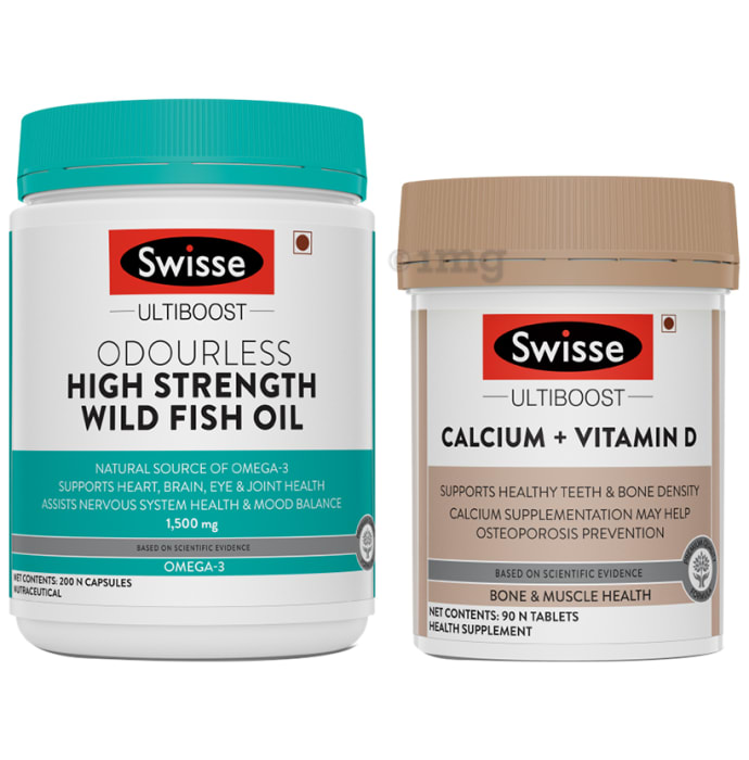 Swisse Combo Pack of Ultiboost Odourless High Strength Wild Fish Oil 200 Capsule & Ultiboost Calcium+Vitamin D 90 Tablet