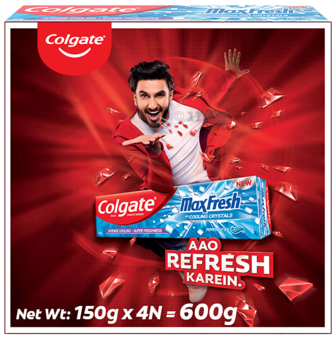 Colgate Maxfresh with Cooling Crystals Anticavity Toothpaste Mega Save Pack (150gm Each) Peppermint Ice Blue Gel