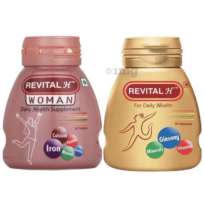 Revital Combo Pack of Revital H 30 Capsule and Revital H Woman 30 Tablet
